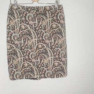 J Crew No 2 Feather Paisley Pencil Skirt Size 8